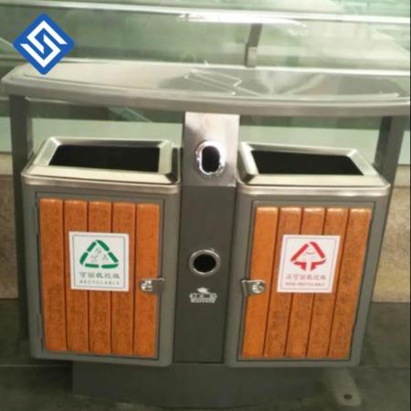 宁波_户外垃圾桶_不锈钢果皮箱_分类垃圾筒_室外果壳箱大号_钢木环卫垃圾箱
