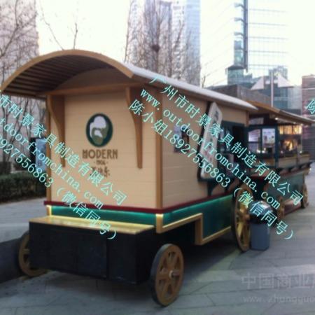番禺木制售货车悬挂式售货车公园防腐木小吃部