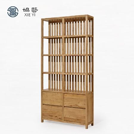 协艺家具小户型客厅置物架现代简约带新中式房间玻璃门书柜架子木柜子书架博古架花梨木