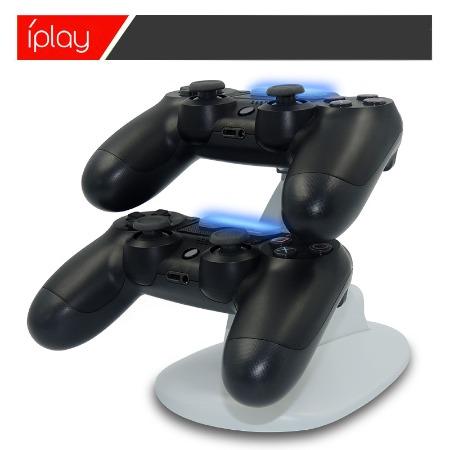 工厂直销PS4 slim游戏手柄充电器双座充白色座充支架充电器可定制