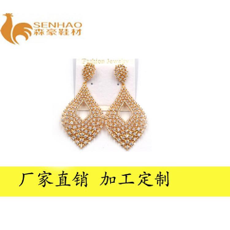 时尚新款韩版金色气质耳环 金属镂空树叶状耳饰 森豪厂家定制时尚流行气质耳环
