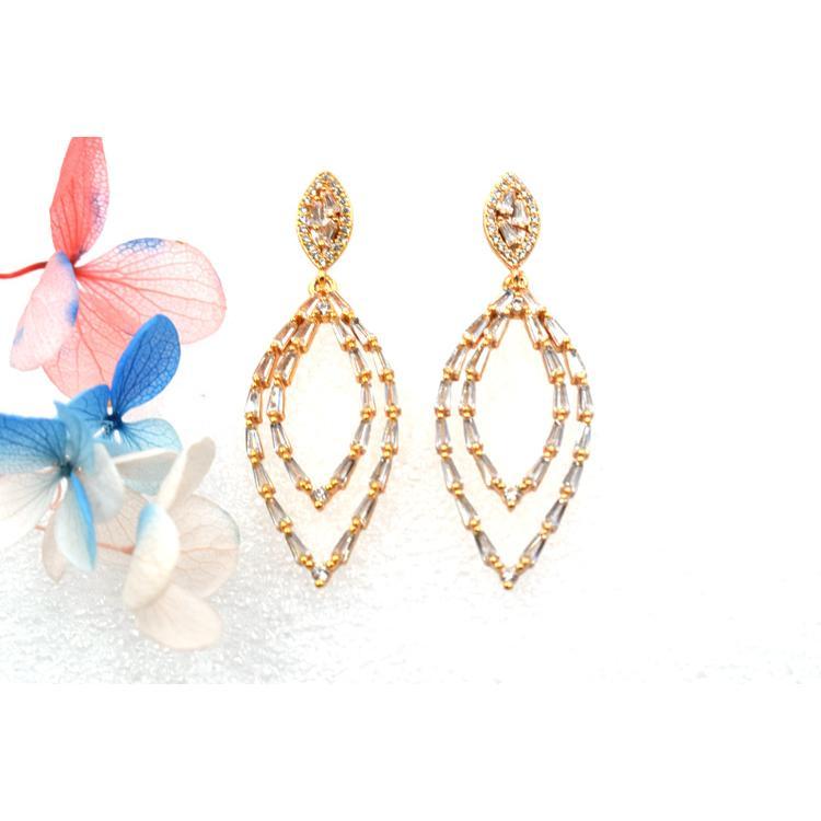 韩国气质时尚个性耳环 个性几何金属镶锆石耳饰 森豪厂家定制精美时尚个性耳环
