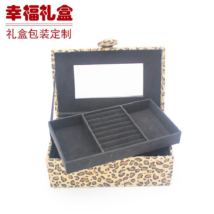日韩化妆包化妆箱双层化妆包整理收纳包豹纹化妆包内置隔层化妆包