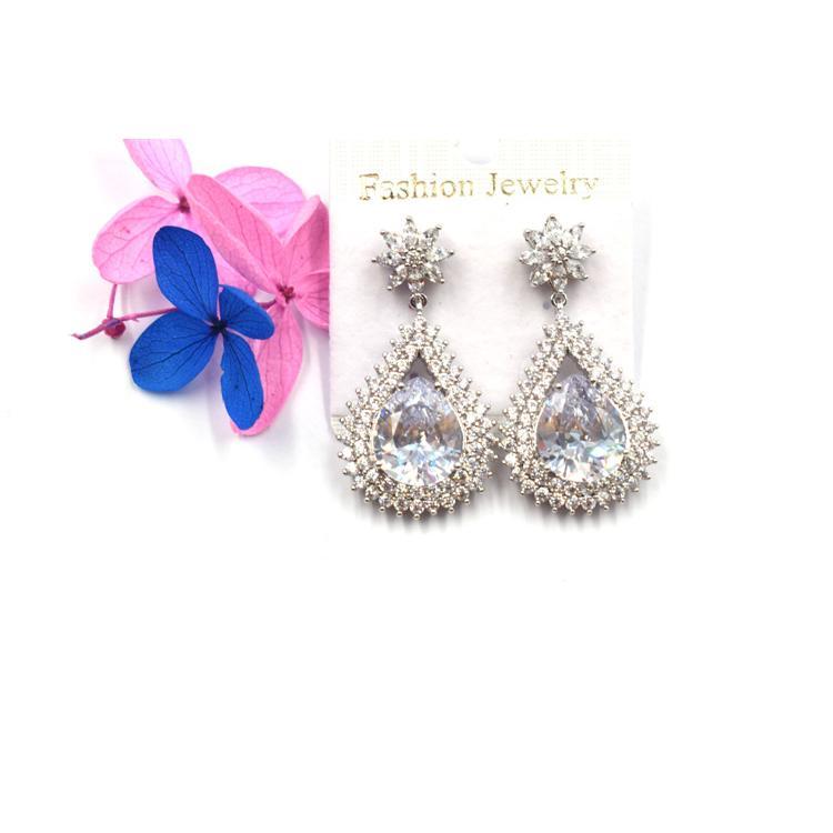 时尚创意新款耳环 个性水滴系列锆石吊坠饰品 森豪定制流行创意新款耳环