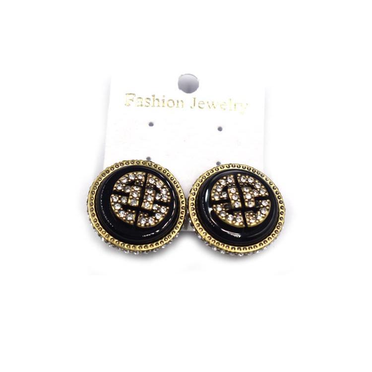 时尚经典圆形耳环 金属镶钻个性简约耳饰 森豪厂家生产定制简约百搭圆形耳环