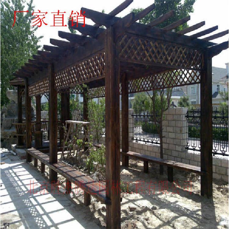 水泥木廊架施工  碳化木花架制作  户外葡萄架设计   阳台木廊架施工