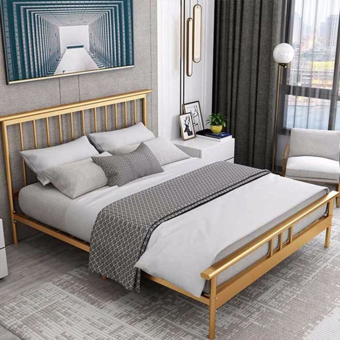 1.8米双人铁架床 家用卧室公寓床旅馆酒店金属床  现代简约铁艺床