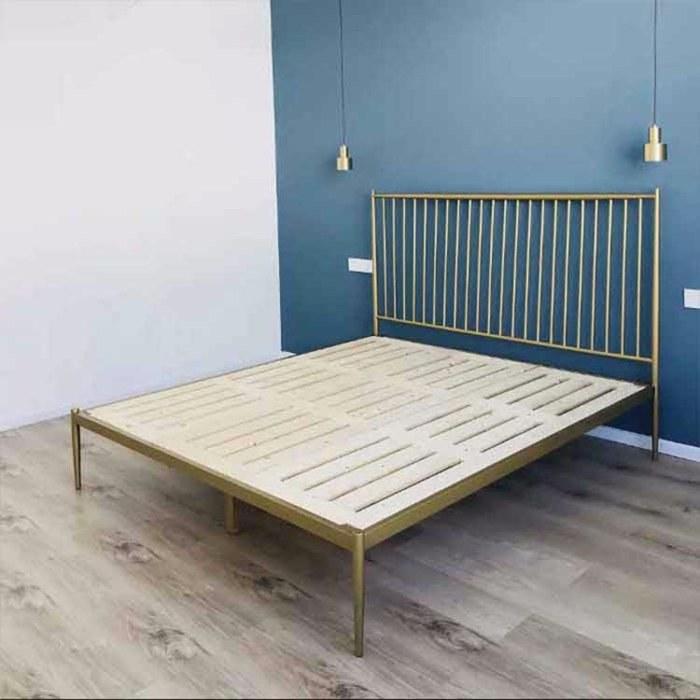 北欧简约双人铁艺床 ins风现代样板房不锈钢金属床   金色轻奢公主床
