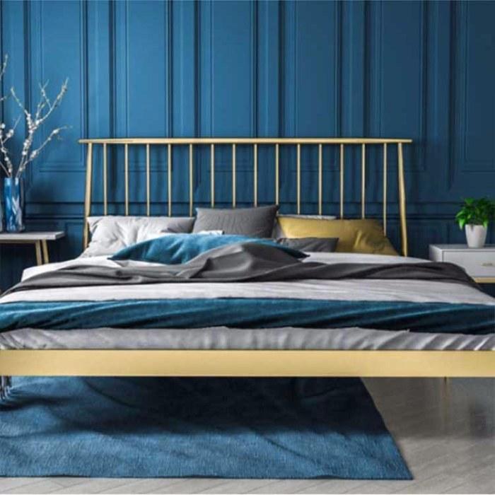 双人公寓宿舍1.8米1.2 北欧铁艺床 金色简约现代白色铁床  简易定制