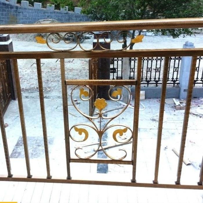 纵海金属 阳台护栏 锌钢护栏 楼梯扶栏杆 别墅玻璃雕花阳台铝合金围栏 防护围挡  厂家定制