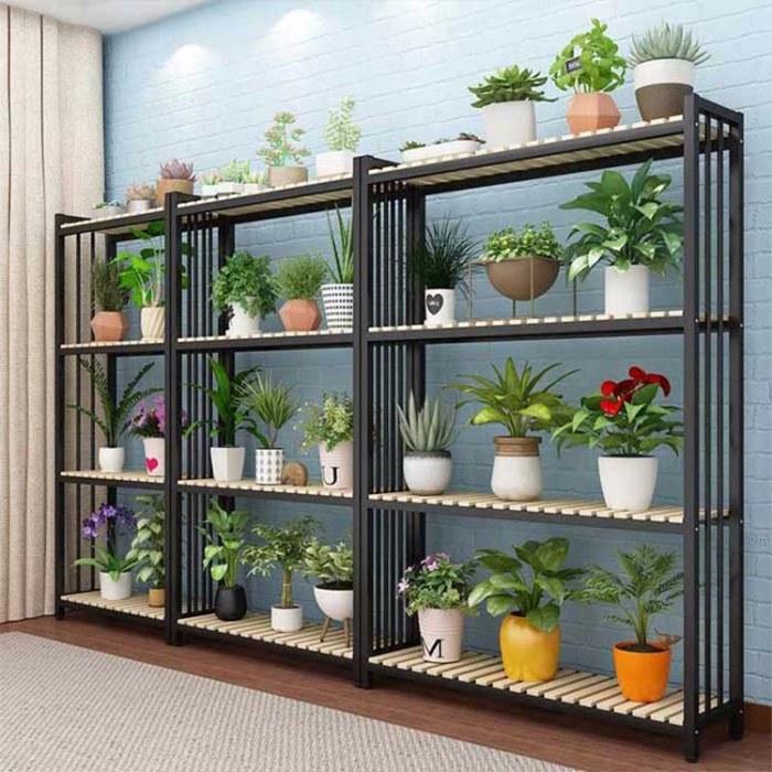 阶梯式落地植物架 室内阳台梯形置物架 铁艺花店花架多层多肉花盆