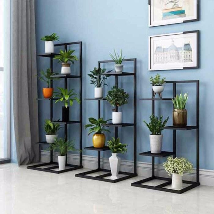 室内绿萝花盆 北欧花架铁艺 创意现代简约落地金色 客厅装饰花架子