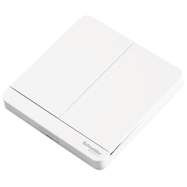 施耐德电气 面板开关 家用开关插座面板 双开双控 绎尚系列镜白瓷 施耐德电气厂家直销