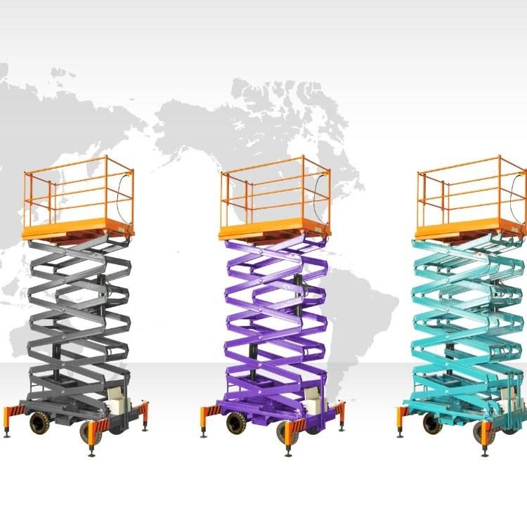 卡特凯拓厂家直销移动升降平台人工拉移动剪叉式升降机高空作业平台可非标定制
