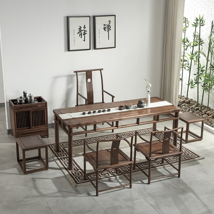 新中式北美黑胡桃办公桌餐桌茶椅组合禅意实木家具会议桌现代简约茶台花梨木中山家具厂家