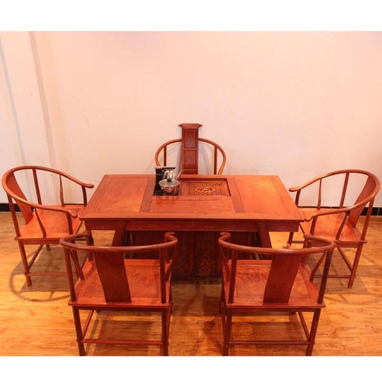 福联居红木功夫泡茶桌缅甸花梨茶桌椅组合家具实木茶台
