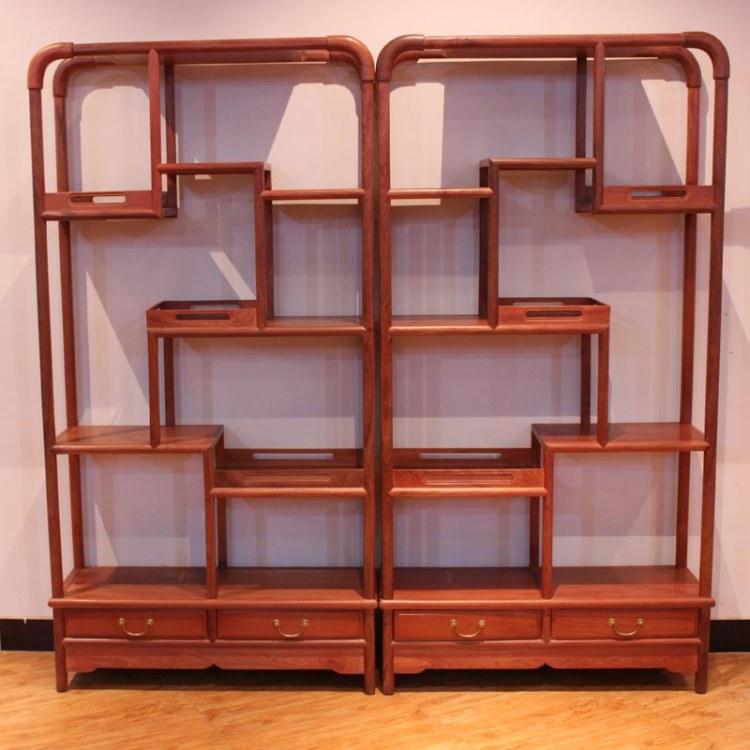 福联居缅甸花梨古董收藏置物架红木博古架实木收纳置物架