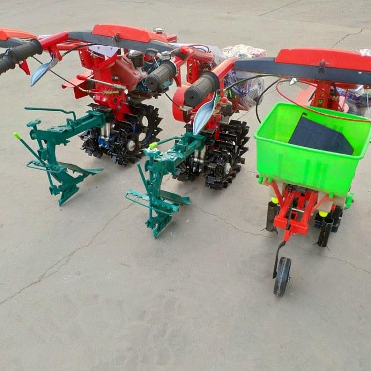 汽油轮式耕耘机 手推式玉米豆播种机 单行玉米施肥播种机