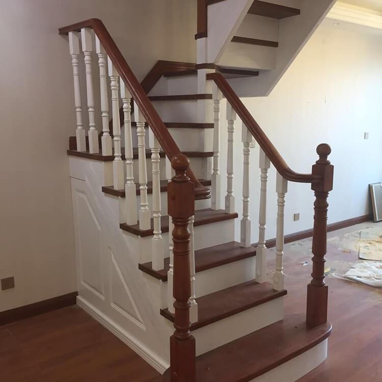 【颜氏木业】免费设计全实木楼梯 室内复式阁楼实木楼梯 别墅家用楼梯厂家定制