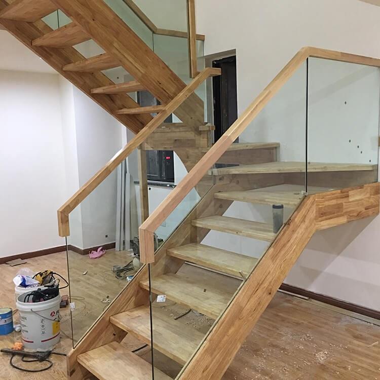 实木护栏  楼梯栏杆 【颜氏木业】 现代风地中海全实木楼梯玻璃栏杆