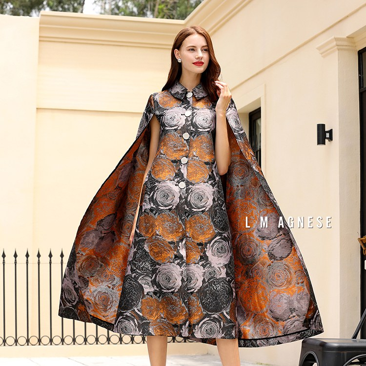 简爱格妮斯高端品牌女装专柜正品斗篷印花复古压花风衣外套