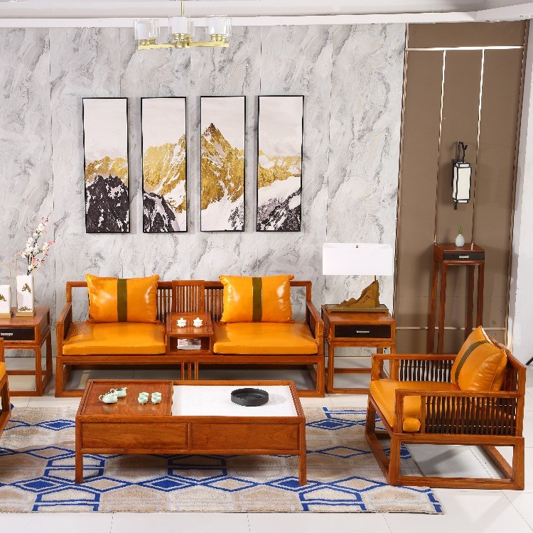 协艺家具新中式实木沙发 新中式家具沙发深圳定制厂家实木组合现代新中式客厅