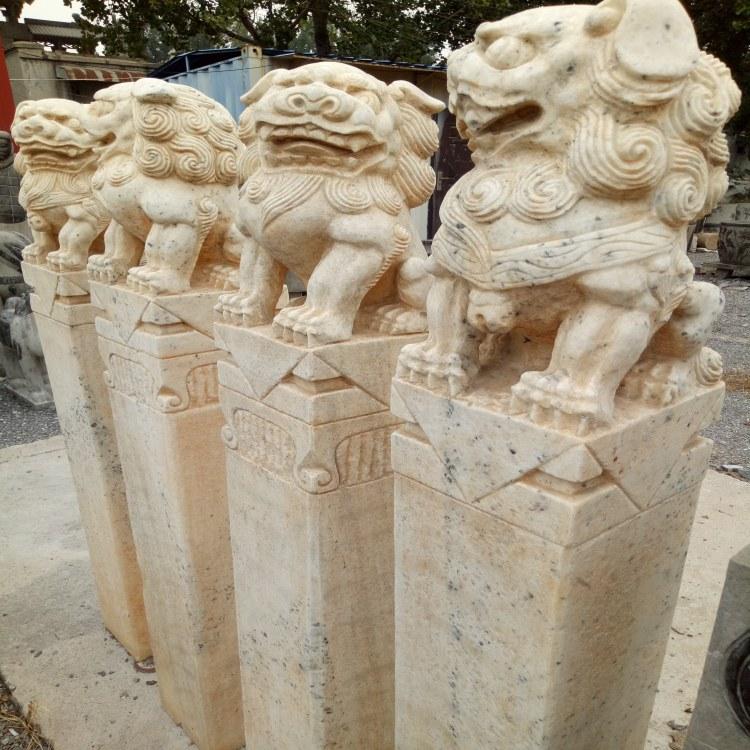 艺博石雕厂家定做拴马桩石狮子貔貅石祥云柱园林庭院门口家用摆件