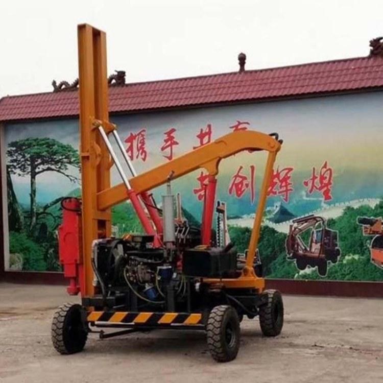 程煤护栏打桩机 山地爬坡护栏打桩机直销 公路护栏液压打桩机
