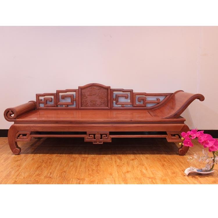 红木家具缅甸花梨贵妃椅实木美人床榻中式简约沙发