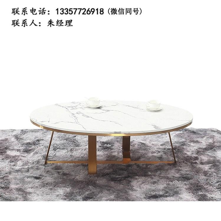 厂家定制现代简约餐厅圆桌洽谈桌接待桌双人位咖啡桌钢架茶几 批发南京办公家具XY-10