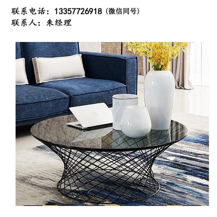 厂家定制现代简约餐厅圆桌洽谈桌接待桌双人位咖啡桌钢架茶几 批发南京办公家具XY-01
