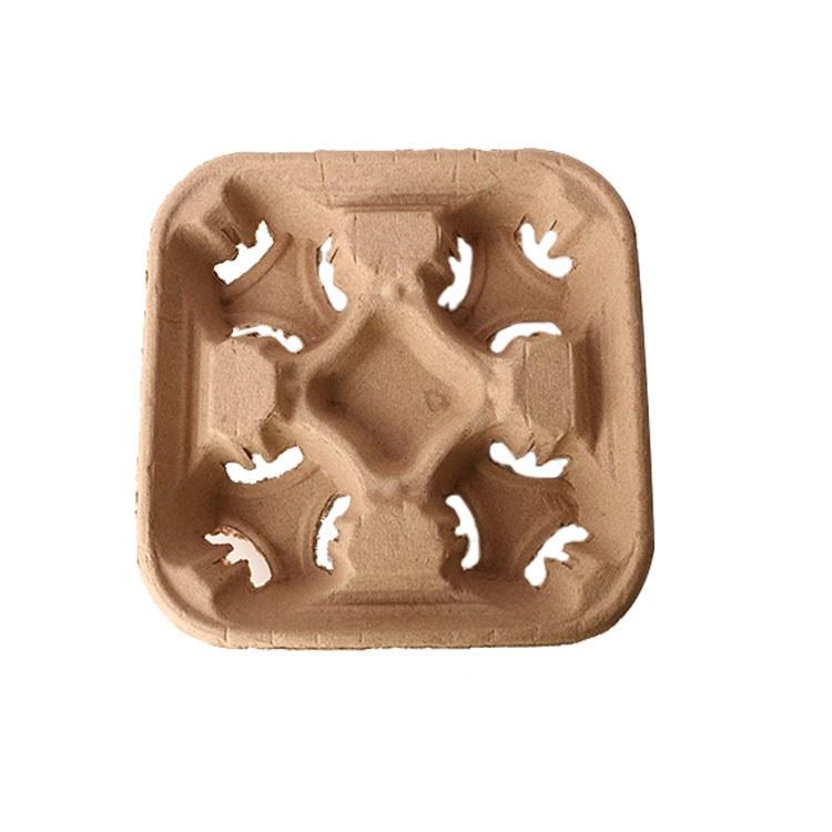 盒美美纸杯 外卖杯托 一次性豆浆杯座4杯咖啡奶茶豆浆托盘外带打包托支持加印GOO设计制作 100只