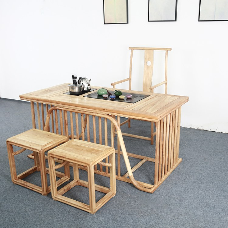 新中式茶桌椅凳禅意组合榆木现代简约功夫茶道森韬系列家具009
