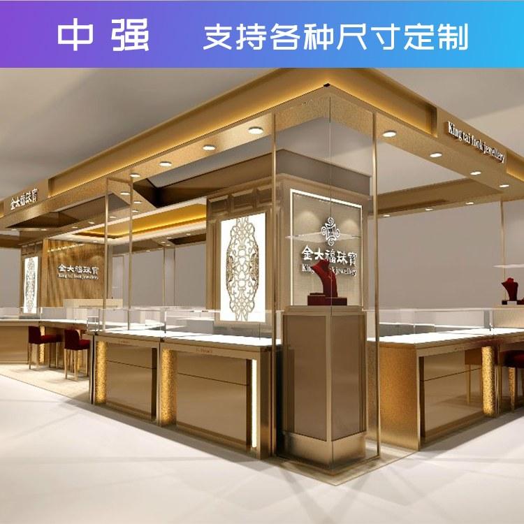 展柜制作新款珠宝玉器柜设计制作展柜饰品柜台定做中岛柜定制中强