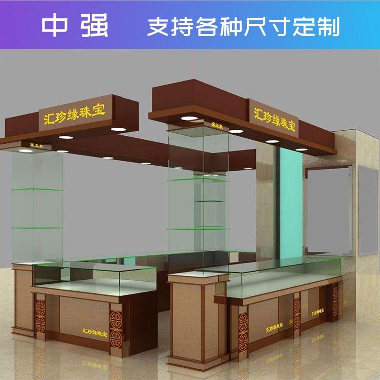 中强珠宝展柜定制环保板材 led灯具 超白钢化玻璃环保展示柜厂家直销