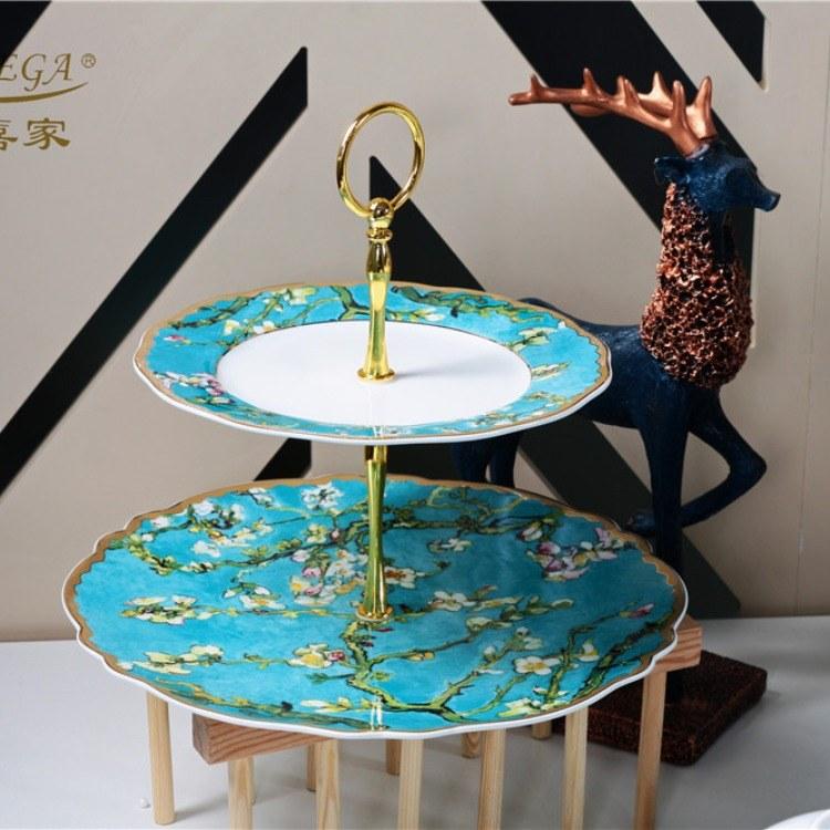 多喜家餐具套装家用杏花高档碗盘欧式乔迁婚庆骨瓷碗碟陶瓷