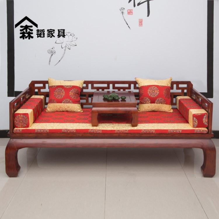 古典罗汉床实木新中式明清榆木床榻家用小户型客厅沙发组合禅意0