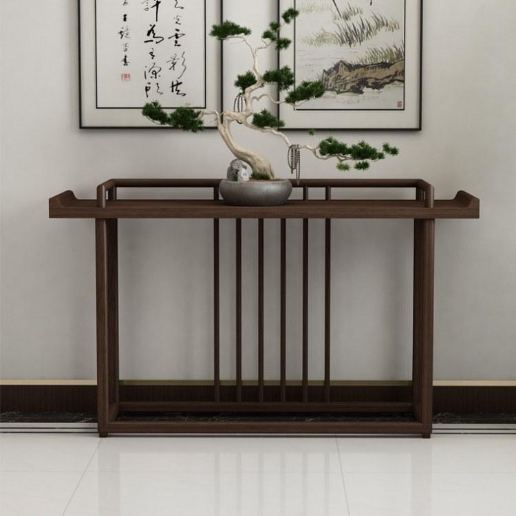 新中式玄关桌子柜台靠墙中式实木简约轻奢置物架装饰条案00