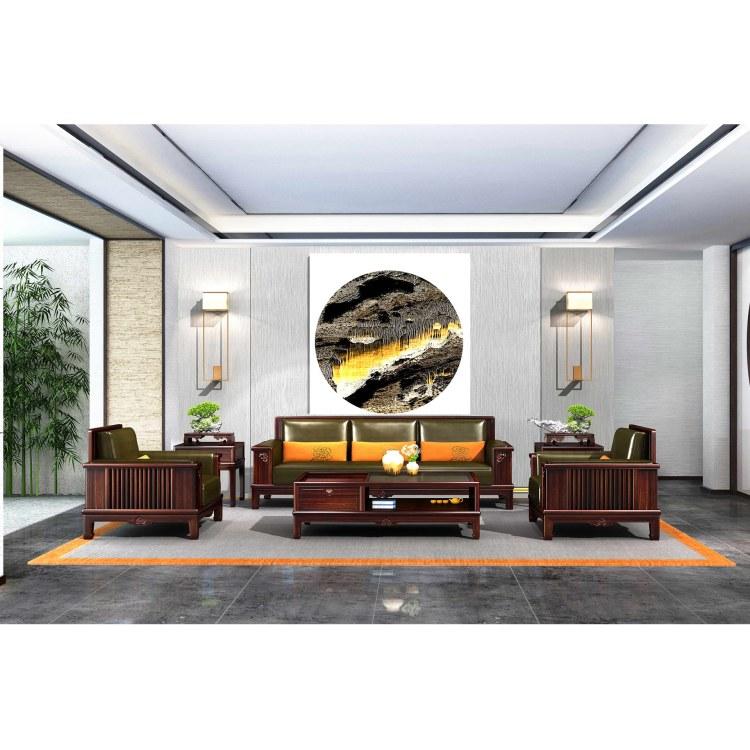 老东方 新中式 如意沙发 红木沙发组合 材质 非洲紫檀 定制厂家