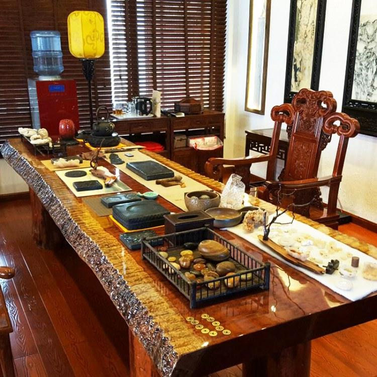 黑檀功夫茶艺桌茶桌椅组合办公桌泡茶桌原木大板喝茶桌单人家用