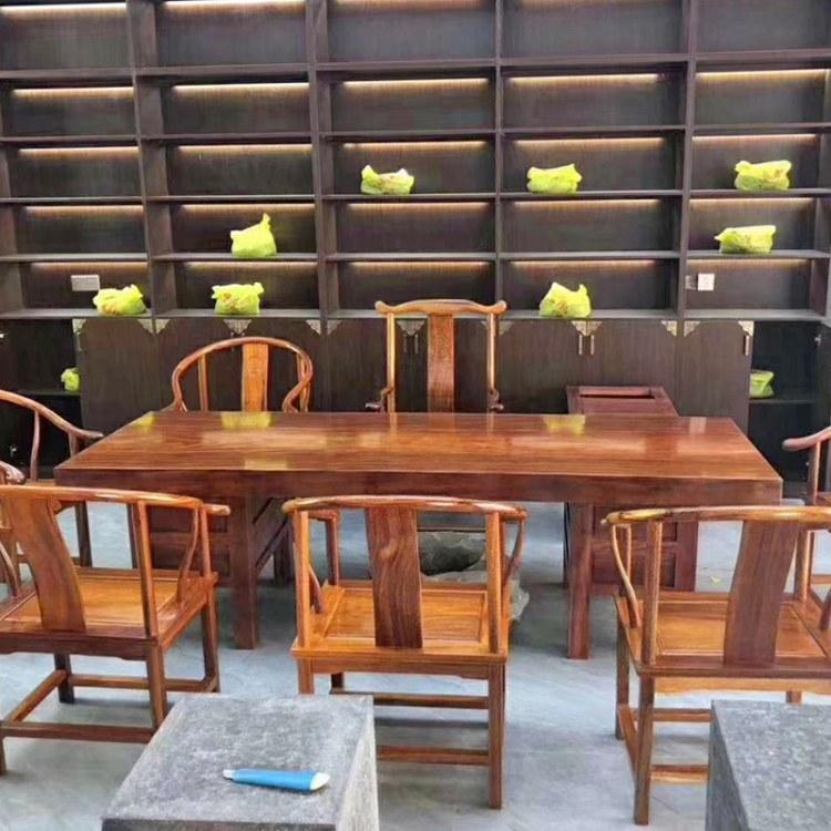 奥坎实木大板桌原木茶桌茶台餐桌花梨胡桃木巴花新中式老板办公桌