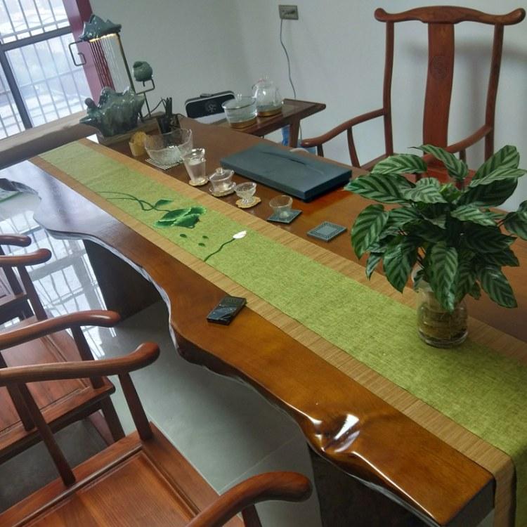 巴花实木大板原木整块茶桌茶板茶台红木办公桌餐桌巴西花梨