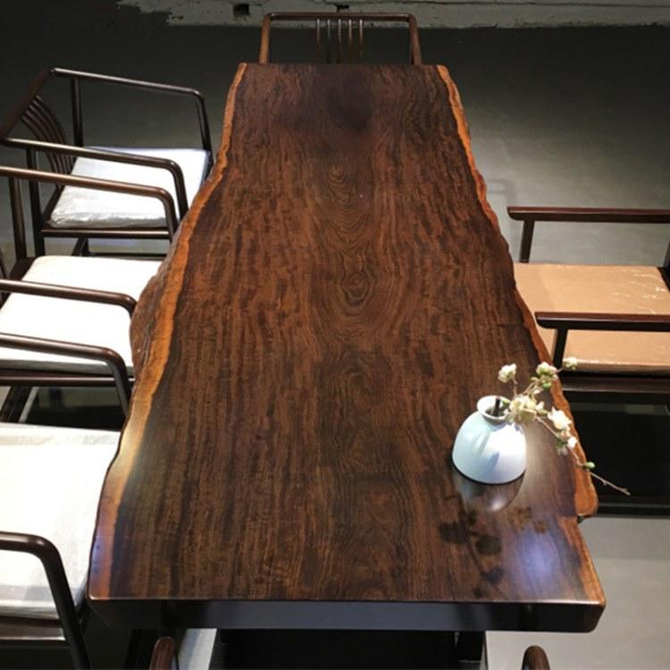 实木大板茶桌老板办公桌椅组合茶台巴花奥坎花梨胡桃木会议桌餐桌