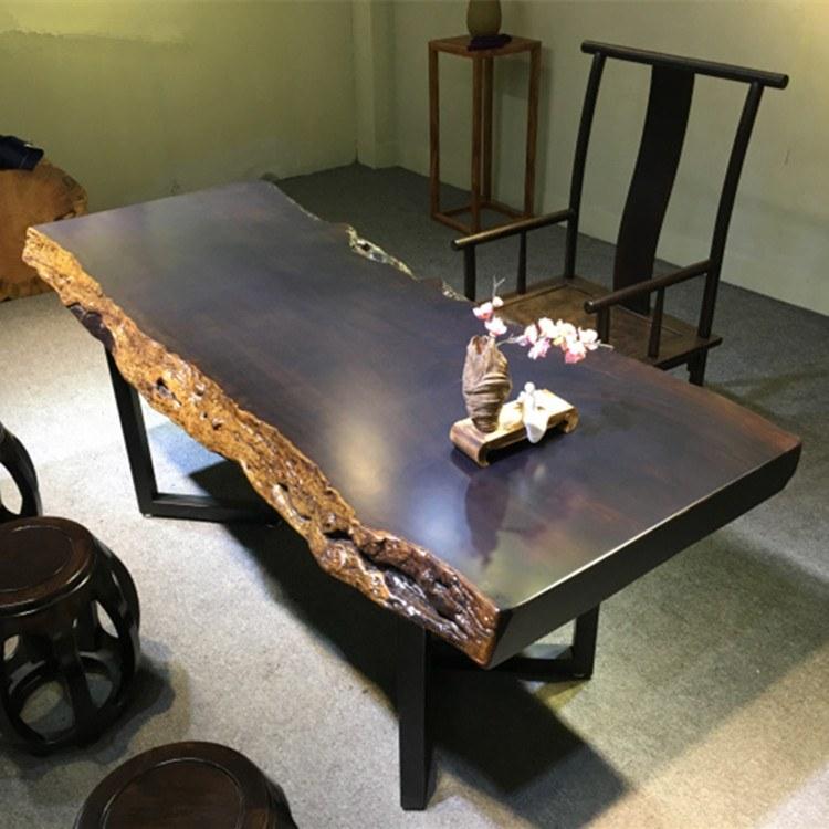 奥坎胡桃木大板茶桌实木原木柚木餐桌黑檀木巴花整块茶台办公桌
