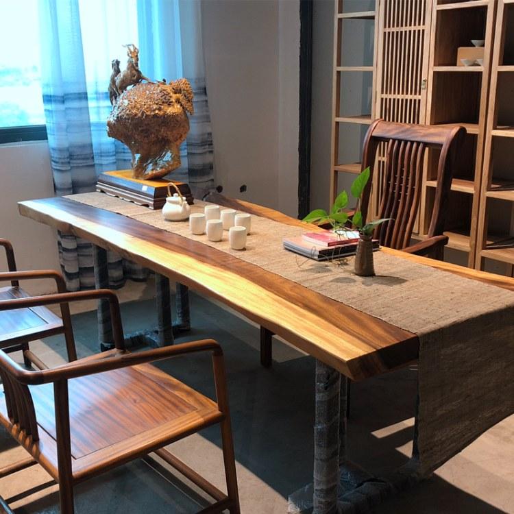 新中式胡桃木实木大板桌原木奥坎巴花老板桌办公桌茶桌茶台大板台