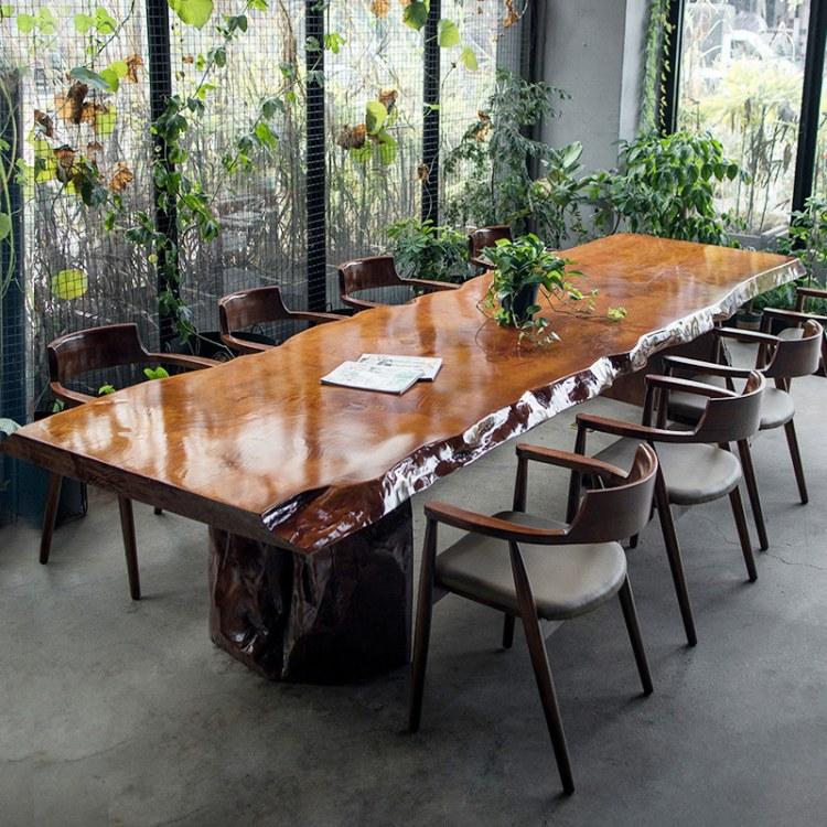实木大板桌原木奥坎巴花黑檀胡桃餐桌老板办公桌椅茶桌茶台画案