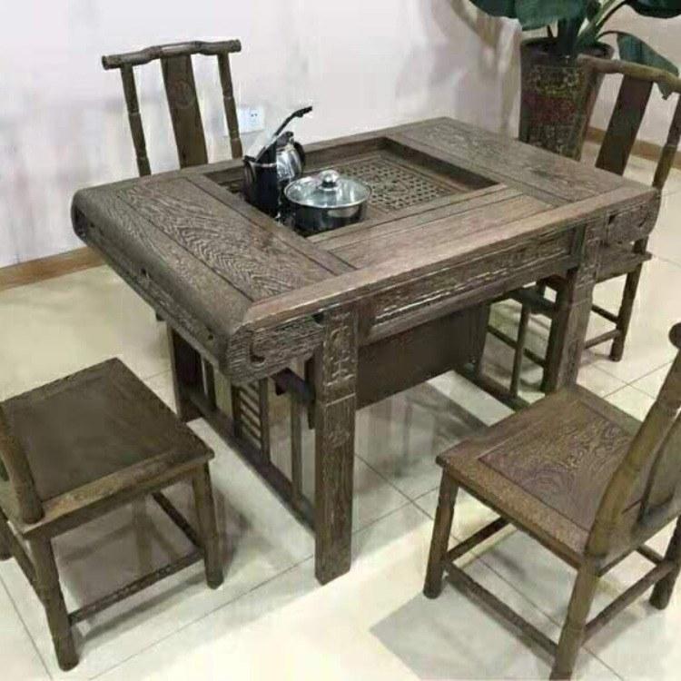 红木家具鸡翅木茶桌小户型实木茶台茶桌椅组合中式四方功夫茶几桌