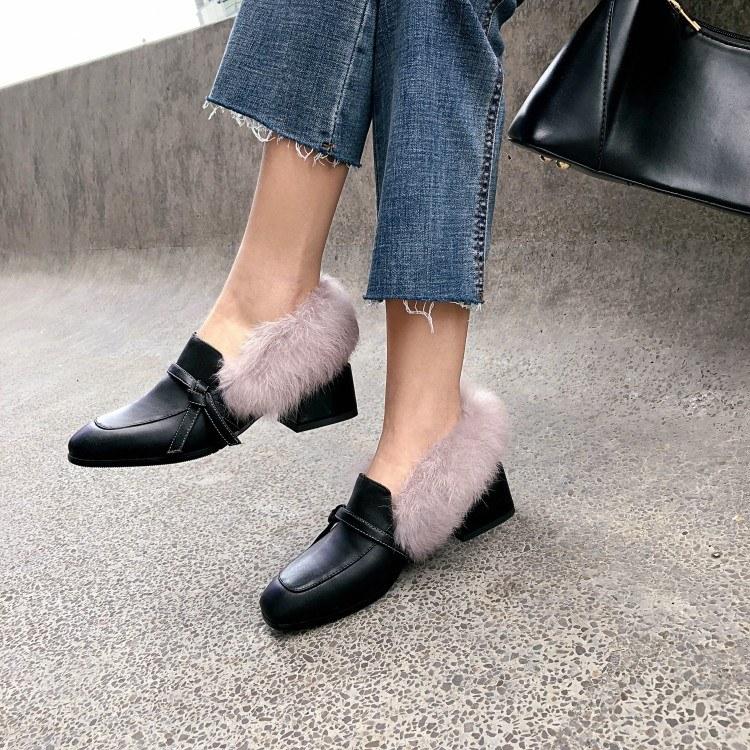 2019秋冬款真皮方头粗跟加绒穆勒鞋 中跟兔毛单鞋 一脚蹬白色小皮鞋 东莞女鞋厂家直销
