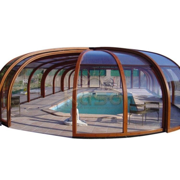 KASO 泳池遮阳棚 铝合金泳池盖 定制价电动伸缩推拉智能阳光房露台盆厂家