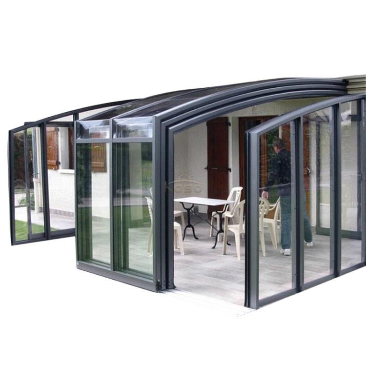 KASO 自动伸缩阳光房 厂家露台雨棚 滑轨系统电动控制铝型材电动伸缩房